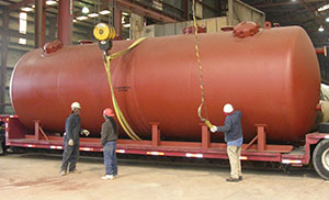 Hungerford & Terry's Geneva, IL pretreatment system includes four (4) 10' diameter x 30' long 2-cell horizontal filters – one shown here prior to shipment. This unique system is one of many H&T filter systems that currently pretreat water for RO/other membrane type treatment operations around the world.
